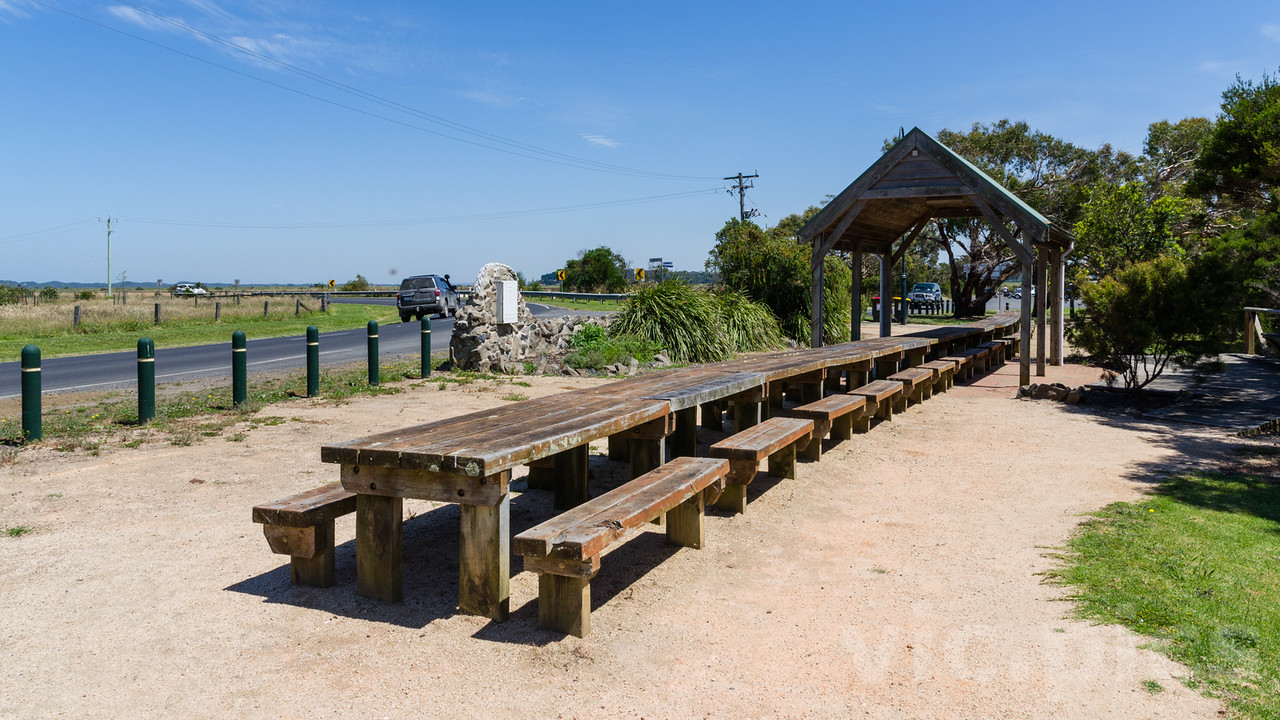 Long picnic table at Tarwin Lower