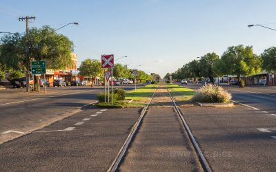 Wycheproof railway runs along the middle of the main street